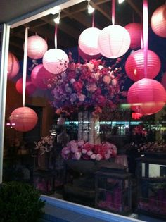 Pink lanterns and floral arrangements