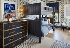 Timeless wallpaper, Hermes Avalon Pillows, Transitional, boy's room, Shelley and Company