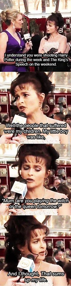 Funny pictures about Helena Bonham Carter at the 2011 SAG Awards. Oh, and cool pics about Helena Bonham Carter at the 2011 SAG Awards. Also, Helena Bonham Carter at the 2011 SAG Awards. Helena Bonham Carter, Helena Carter, Harry Potter Jokes, Harry Potter Fandom, Harry Potter Interviews, Movies Quotes, King's Speech, Funny Memes, Hilarious