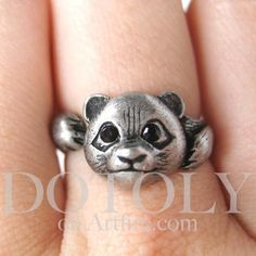 OMG! WANT! 8D   Miniature Panda Bear Animal Wrap Ring in Silver - Sizes 5 through 8 available