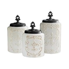 American Atelier Antique Canisters Set of  - White ($50) ❤ liked on Polyvore featuring home, kitchen & dining, food storage containers, white, food canisters, antique canister set, antique canisters, storage canisters and food storage canisters