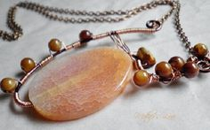 Peach Fire Agate oval Wire Wrapped Copper Statement Pendant Necklace, $30