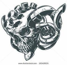 Vector Turbo Skull - stock vector