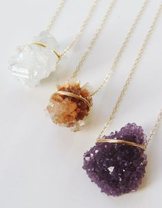 These pretty Crystal Necklaces are perfect as a statement piece or for layering. Available in: Purple Amethyst Peach Aragonite Vanilla Quartz