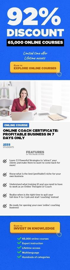 Online Coach Certificate: Profitable Business in 7 Days only Entrepreneurship, Business #onlinecourses #onlinecourses #onlineeducationwebsite  Life Coaching Business: Online marketing tips, Find clients, Work from home, Career Coaching, Home Business Opportunity! This course covers the main aspects of developing your own 'online' coaching business in relation to: finding your best-suited to your p... #lifecoaching