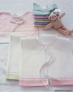 Towel Bibs~Some bibs underestimate the messes babies can make. Hand-towel bibs cover more than the average bib -- and are so easy to create.