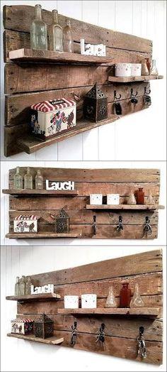 Beautiful Rustic Pallet Shelf Key Rack Combo