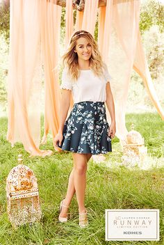 New boho and pretty prep meet in the middle with this sun-kissed top and structured floral skirt. Shop this LC Lauren Conrad Runway Collection look at Kohl's.