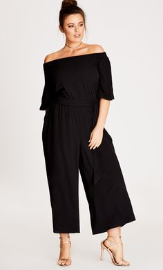 Style By Trend: Miss Saigon City Chic - JUMPSUIT OFF SHOULDER - Women's Plus Size Fashion City Chic - City Chic Your Leading Plus Size Fashion Destination #citychic #citychiconline #newarrivals #plussize #plussizefashion