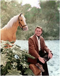 """Mister Ed (palomino) and Alan Young, the final publicity photo before """"Mister Ed"""" TV show was cancelled.  This is my first attempt at a bigger scene and an animal."""