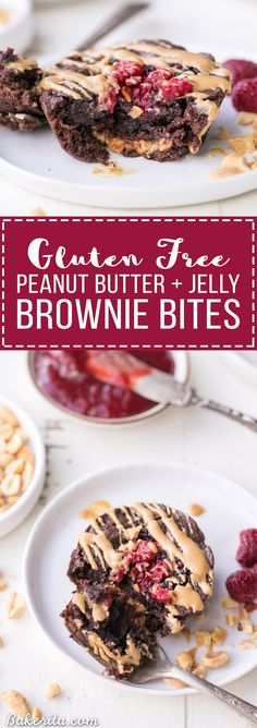 These Gluten Free Peanut Butter & Jelly Brownie Bites are fudgy and flavorful, with a surprise of peanut butter and jelly on the inside of each brownie! If you're a peanut butter & jelly fan, you're going to love these. Easy Cookie Recipes, Healthy Dessert Recipes, Brownie Recipes, Easy Desserts, Sweet Recipes, Delicious Desserts, Yummy Food, Chocolate Recipes, Gluten Free Peanut Butter