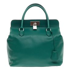 Hermes Swift Malachite Toolbox 33 with matching detachable textile straps