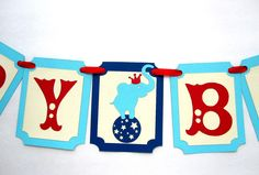 New to Mariapalito on Etsy: Vintage Circus Birthday Banner Vintage Circus ticket banner Elephant Handmade Banner  A393 (16.00 USD)