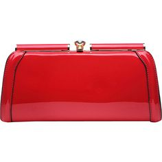 Mkf Collection Heaven Clutch Bag (585 MXN) ❤ liked on Polyvore featuring bags, handbags, clutches, red, red purse, red patent leather handbag, red clutches, chain strap handbag and mkf collection