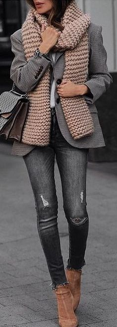 #winter #outfits gray blazer and beige knitted scarf with gray-washed jeans and pair of brown leather heeled booties