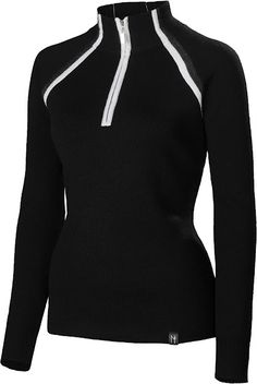 Sarah:Black ~Feel the need for speed wearing this vintage inspired quarter zip-neck sweater. Through the technical fabrication of 100% ultra-fine merino the Sarah offers an athletic fit preparing you to conquer any activity winter throws your way.