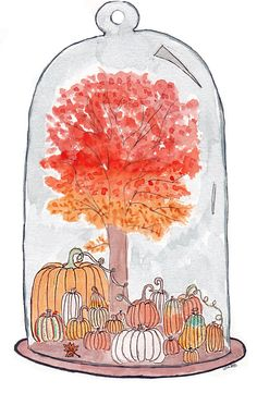 The Land of Autumn Autumnal Equinox, Watercolor Illustration, Snow Globes, Book Art, Card Stock, Cards, Handmade, Stuff To Buy, Etsy