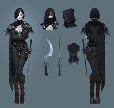 Artstation - assassin crow concept, seok jeon dark fantasy n Female Character Concept, Character Design Cartoon, 2d Character, Fantasy Character Design, Character Outfits, Character Design Inspiration, Fantasy Armor, Dark Fantasy, Disney Animation