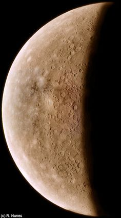Mercury Crescent ~ Colorized clear filter mosaic, from Mariner 10's 1973/75 mission to Mercury and Venus