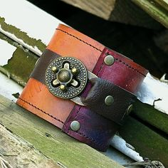 Steampunk Unisex Leather Wrist Wallet Cuff with by sewlutionsbyamo, $80.00