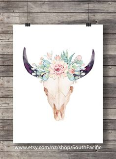 Watercolor succulents and cacti Aztec tribal Bull by SouthPacific