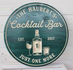 Bar Sign, Cocktail Bar Sign, CARVED (no decals or stickers) for character and depth. Change the bottom line to what you would like. Choose between wine glass and martini glass. Pub Signs, Wood Signs, Custom Bar Signs, Personalized Signs, Groomsman Gifts, Customized Gifts, Cocktails, Cricut Ideas, Man Cave