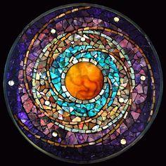 "Stained Glass Mosaic Mandala Celestial Clockwork by David Chidgey, 2010. 10"" diameter"