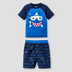 Toddler Baby Buns Shark Mate Rash Guard Set -Multicolor 4T, Toddler, Multicolored