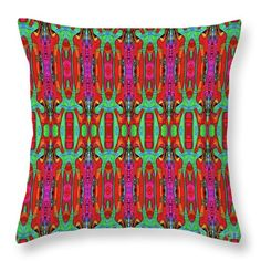 """Techno Floral Throw Pillow by Expressionistartstudio Priscilla-Batzell.  Our throw pillows are made from 100% spun polyester poplin fabric and add a stylish statement to any room.  Pillows are available in sizes from 14"""" x 14"""" up to 26"""" x 26"""".  Each pillow is printed on both sides (same image) and includes a concealed zipper and removable insert (if selected) for easy cleaning."""