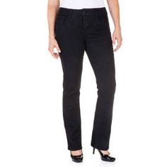 Faded Glory Women's Straight Leg Jeans Available in Regular, Petite, and Tall Lengths, Size: 8 Regular, Black
