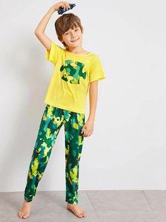 Boys Camo Print Pajama Set – Agodeal Pop Fashion, Trendy Fashion, Fashion Outfits, Satin Pj Set, Sleepwear & Loungewear, Poses, Camo Print, Pajama Set, Lounge Wear