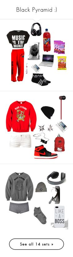 """""""Black Pyramid :)"""" by riahbreezy on Polyvore featuring art, adidas, Beats by Dr. Dre, Naked & Famous, women's clothing, women's fashion, women, female, woman and misses"""