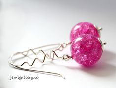 Pink Crackle Glass Earrings Sterling and Glass by gemsgallery, Crackle Glass, Glass Earrings, Ireland, Gems, Trending Outfits, Crafty, Unique Jewelry, Handmade Gifts, Gallery