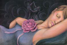 Woman with pink rose sleeping and dreaming of a by CaryeVDPMahoney