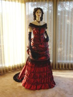 Black and red gothic Victorian ballgown