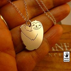 Heart Cute SLOTH  handmade solid sterling silver by StefanoArt