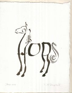 Calligraphy letters create a stylized image, horse in this case.