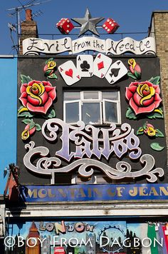 Best tattooist in Camden,London UK Evil From The Needle Camden London, Camden Town, London Today, London Shopping, Building Signs, England And Scotland, London Calling, Places Around The World, London England