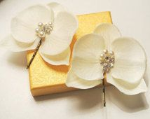 Bridal Headpiece Wedding Headpiece Beach Wedding Ivory Orchid  Pearl  Hair Pins Small Orchid Flowers Orchid Headpiece, UK