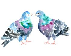 Colorful watercolor painting, Watercolor birds, pigeon art, colorful wall art,  kids wall art - Pigeon Puffs. $16.00, via Etsy.