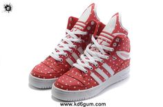 Girl Adidas X Jeremy Scott Big Tongue Shoes Rain Red Sports Shoes Store