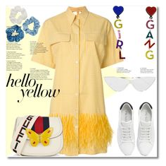 """Get Happy: Pops of Yellow"" by ilona-828 ❤ liked on Polyvore featuring N°21, Gucci, Prada, Le Specs, Mudd, PopsOfYellow, NYFWYellow and polyvoreeditorial"