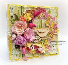 z papieru robione ... : kartka z ptaszkiem... Floral Wreath, Wreaths, Frame, Cards, Decor, Paper, Picture Frame, Floral Crown, Decoration