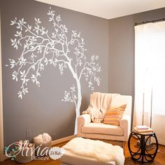 Decalcomanie da muro bianco grande albero albero Wall Decal