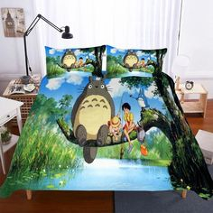 3pcs Set Totoro Theme  Digital Printed Bedding  Household Products Sky Blue