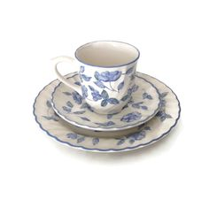 Barratts China Teacup & Saucer and Salad Plate Blue Flowers with Blue Rim and Swirled Edge Made in England