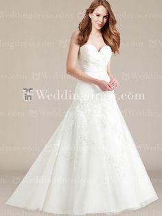 Unusual Organza Drop Waist Wedding Dress with Lace Appliqué DE269N