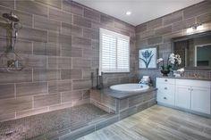 "Transitional Master Bathroom with Hardwood floors, Salerno Porcelain Tile - Raw Silk Series Black / 12""x24"", Flush"