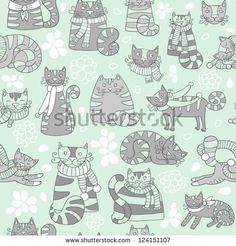 funny seamless pattern with cartoon nice cats  in grey colors