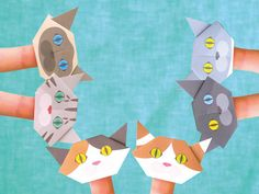 The Catchy Cat Mini Origami are perfect size for finger puppets